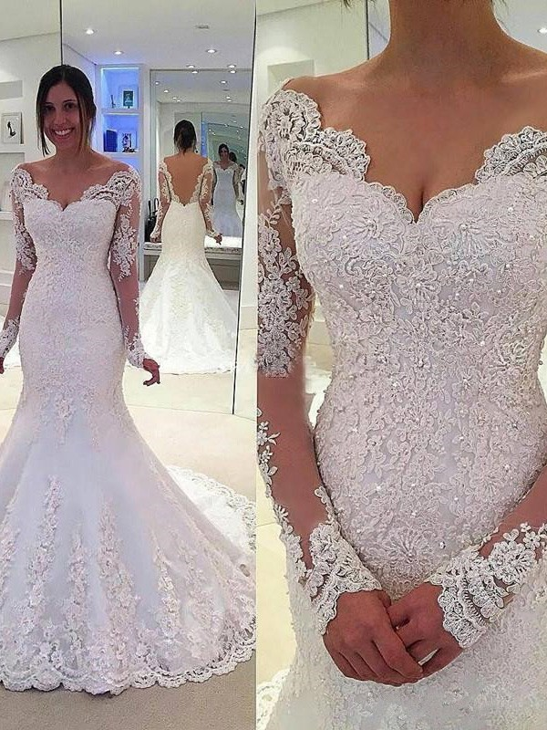 6c88f64af95 Court Train Trumpet Mermaid V-neck Long Sleeves Lace Tulle Wedding Dresses
