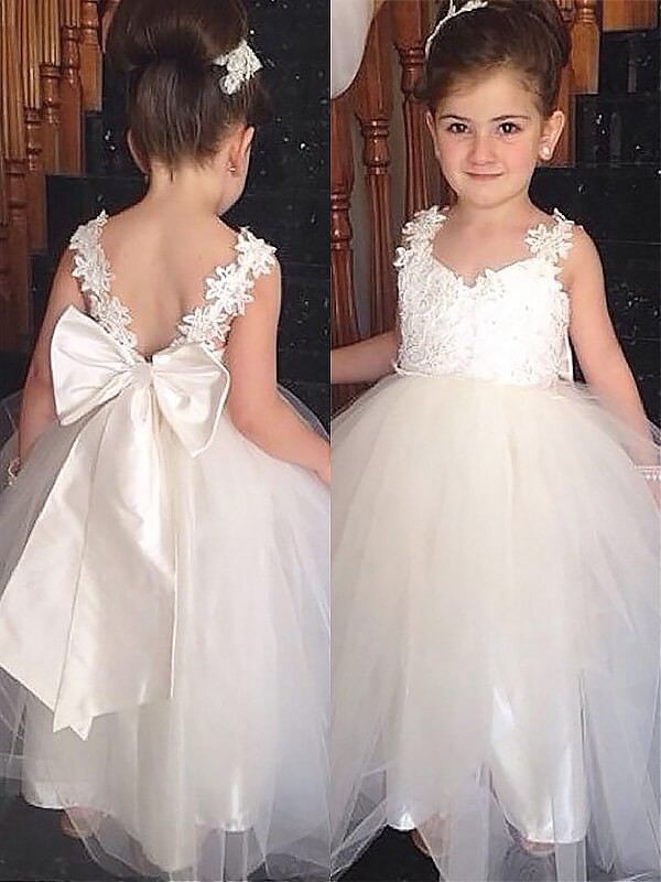 ec35bc341e Floor-Length Ball Gown Sweetheart Sleeveless Bowknot Tulle Flower Girl  Dresses