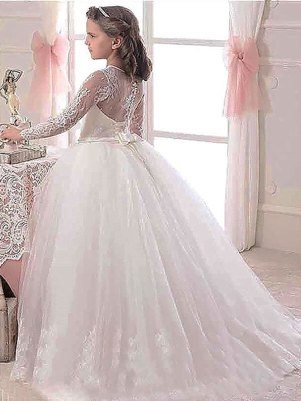 92a5a90621 Ball Gown Scoop Long Sleeves Floor-Length Lace Tulle Flower Girl Dresses