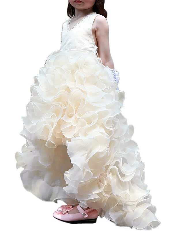 9592a61c592 Asymmetrical A-Line Princess V-neck Sleeveless Ruffles Organza Flower Girl  Dresses