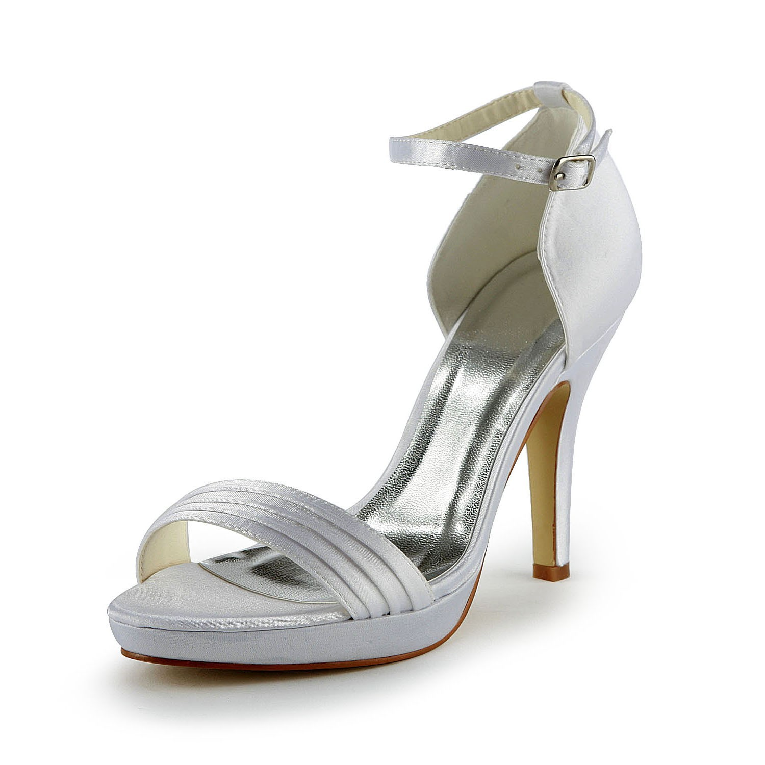 88ec1a4d47c5 The Most Fashionable Women s Pretty Satin Stiletto Heel Sandals With Buckle  White Wedding Shoes