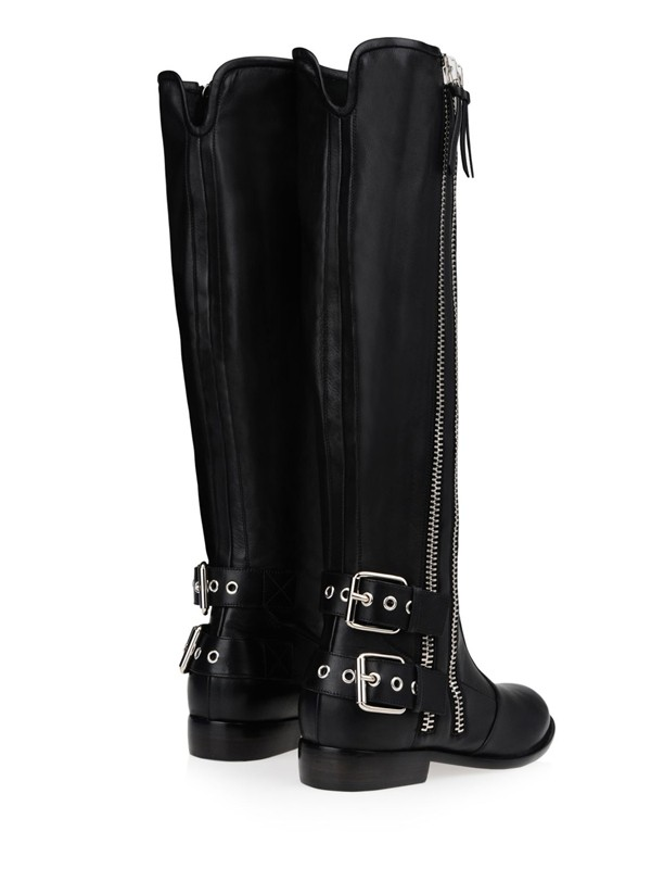 d81214404314 Fashion Trends Women s Kitten Heel Cattlehide Leather With Buckle Zipper  Knee High Black Boots - Miagal