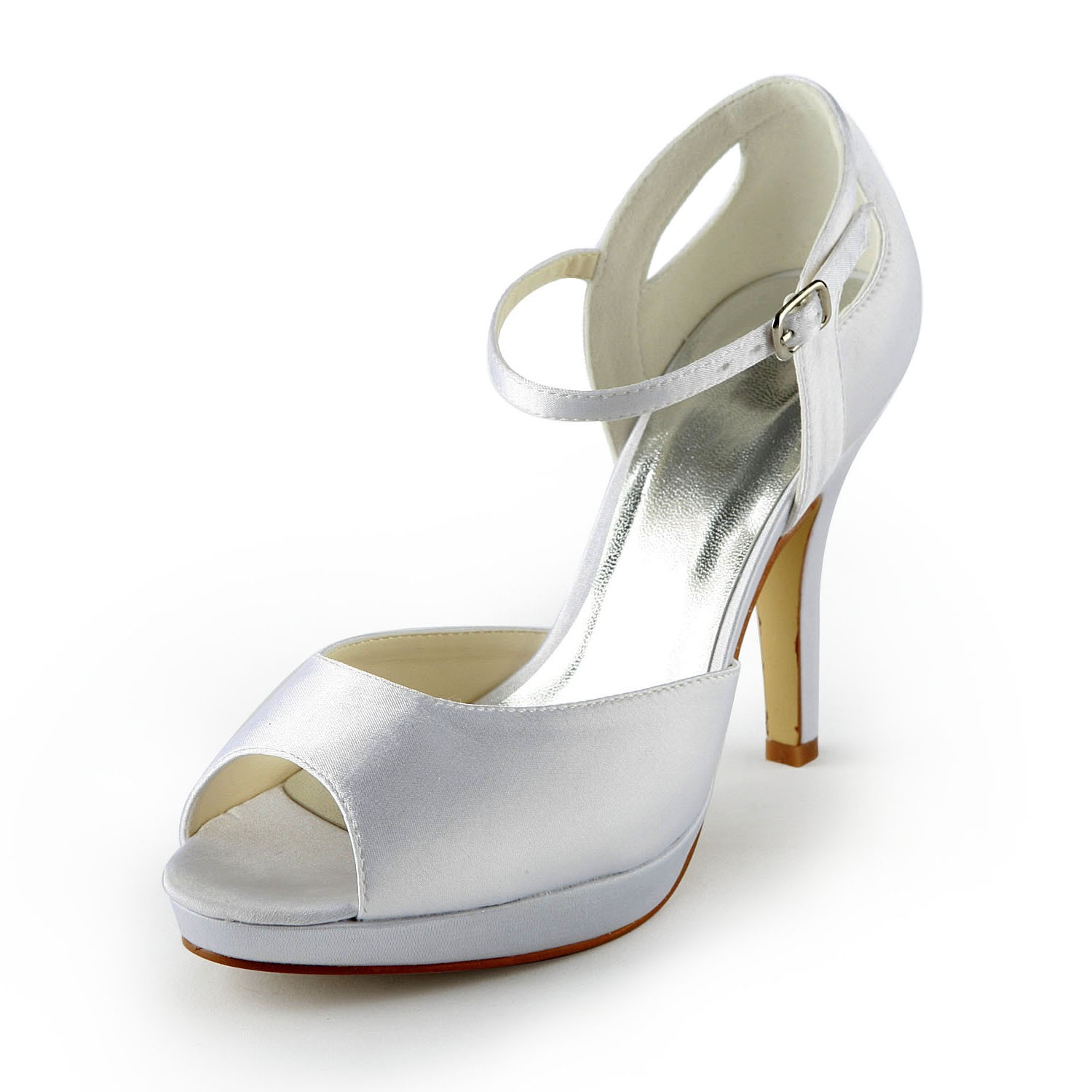 3a7322fb3f8f The Most Fashionable Women s Satin Stiletto Heel Peep Toe Platform Sandals  White Wedding Shoes With Buckle