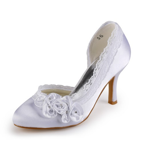 0bc475602 The Most Trendy Women s Satin Stiletto Heel Closed Toe White Wedding Shoes  With Rhinestone