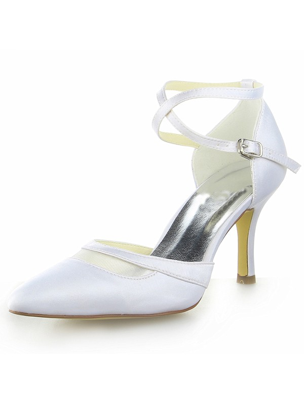 96261c73a08 Fashion Trends Women s White Satin Closed Toe Spool Heel With Buckle White  Wedding Shoes