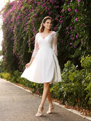 Knee-Length A-Line/Princess V-neck 3/4 Sleeves Other Chiffon Wedding Dresses