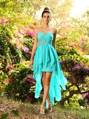 Asymmetrical A-Line/Princess Sweetheart Sleeveless Beading Chiffon Bridesmaid Dresses