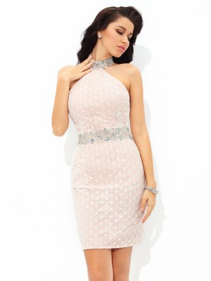Short/Mini Sheath/Column Halter Sleeveless Beading Satin Dresses