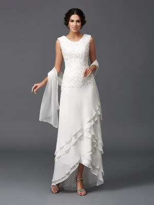 Asymmetrical A-Line/Princess Scoop Sleeveless Lace Chiffon Mother of the Bride Dresses