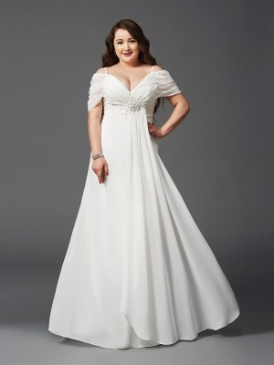Floor-Length A-Line/Princess Off-the-Shoulder Short Sleeves Ruched Chiffon Dresses