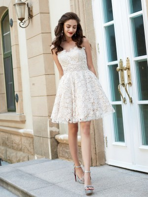Short/Mini A-Line/Princess Sweetheart Sleeveless Rhinestone Lace Dresses