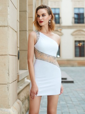 Short/Mini Sheath/Column One-Shoulder Sleeveless Beading Net Dresses