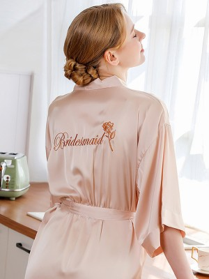 Soft Silk like Satin Embroidery Bridesmaid Robes