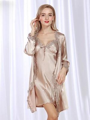Suitable Silk like Satin With Applique Pajamas