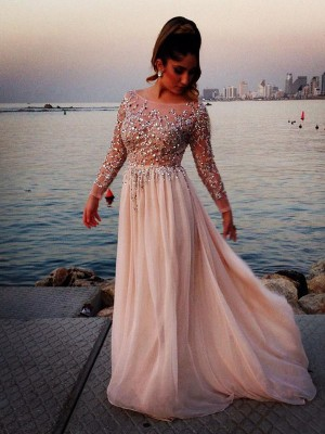 Floor-Length A-Line/Princess Bateau Long Sleeves Beading Chiffon Dresses
