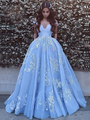 Sweep/Brush Train Ball Gown Off-the-Shoulder Sleeveless Applique Tulle Dresses