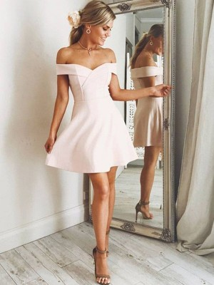 Short/Mini A-Line/Princess Off-the-Shoulder Sleeveless Other Satin Dresses