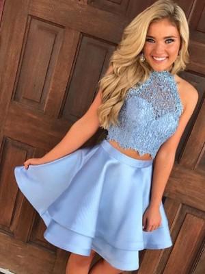 Short/Mini A-Line/Princess Halter Sleeveless Lace Satin Dresses