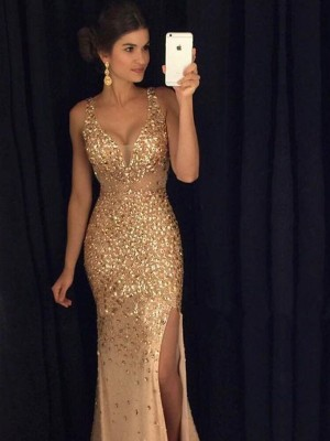 Court Train Sheath/Column V-neck Sleeveless Sequin Jersey Dresses