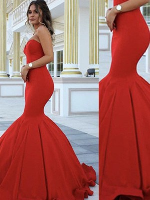 Floor-Length Trumpet/Mermaid Sweetheart Sleeveless Satin Dresses