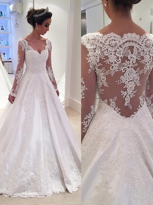 Court Train Ball Gown V-neck Long Sleeves Lace Satin Wedding Dresses