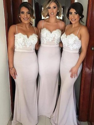 Floor-Length A-Line/Princess Sweetheart Sleeveless Lace Satin Bridesmaid Dresses