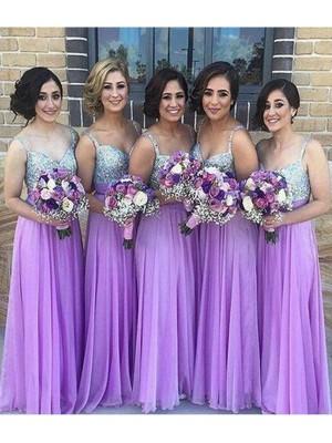 Floor-Length A-Line/Princess Sweetheart Sleeveless Sequin Chiffon Bridesmaid Dresses