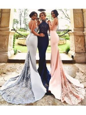 Sweep/Brush Train Trumpet/Mermaid Halter Sleeveless Lace Stretch Crepe Bridesmaid Dresses