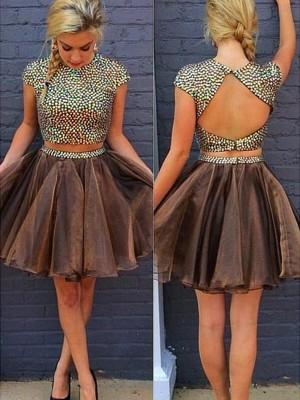 Short/Mini A-Line/Princess Scoop Sleeveless Beading Organza Dresses