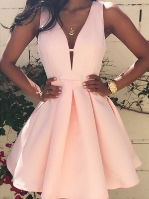 Short/Mini A-Line/Princess V-neck Sleeveless Satin Dresses