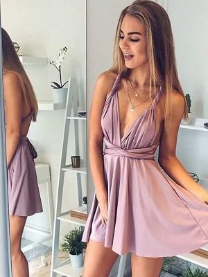 Short/Mini A-Line/Princess V-neck Sleeveless Silk like Satin Dresses