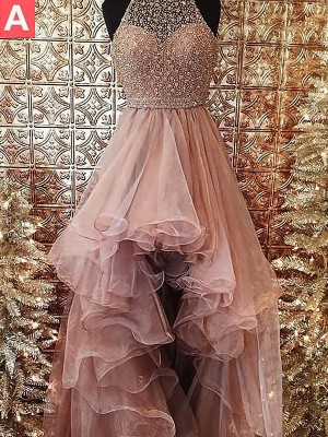 Sweep/Brush Train Ball Gown Halter Sleeveless Beading Tulle Dresses