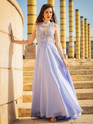 Sweep/Brush Train A-Line/Princess Scoop Sleeveless Applique Chiffon Dresses