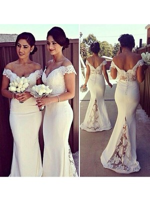 Sweep/Brush Train Trumpet/Mermaid Off-the-Shoulder Sleeveless Lace Satin Dresses