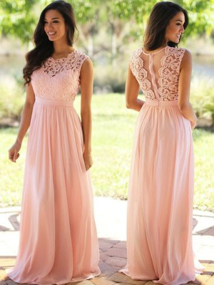 Floor-Length A-Line/Princess Scoop Sleeveless Applique Chiffon Dresses