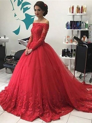 Court Train Ball Gown Off-the-Shoulder Long Sleeves Lace Tulle Dresses