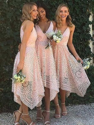 Asymmetrical A-Line/Princess V-neck Sleeveless Lace Bridesmaid Dresses