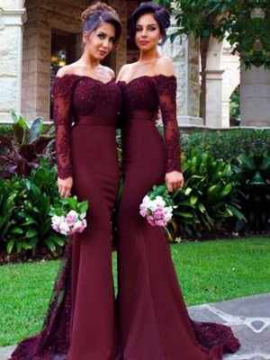 Sweep/Brush Train Trumpet/Mermaid Off-the-Shoulder Long Sleeves Satin Bridesmaid Dresses