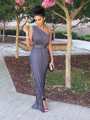 Floor-Length Sheath/Column One-Shoulder Sleeveless Jersey Bridesmaid Dresses