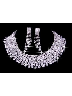 Gorgeous Very Elegant Czech Rhinestones Wedding Necklaces Earrings Set