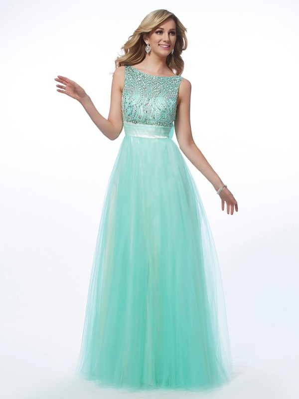 Floor-Length A-Line/Princess Bateau Sleeveless Beading Net Dresses