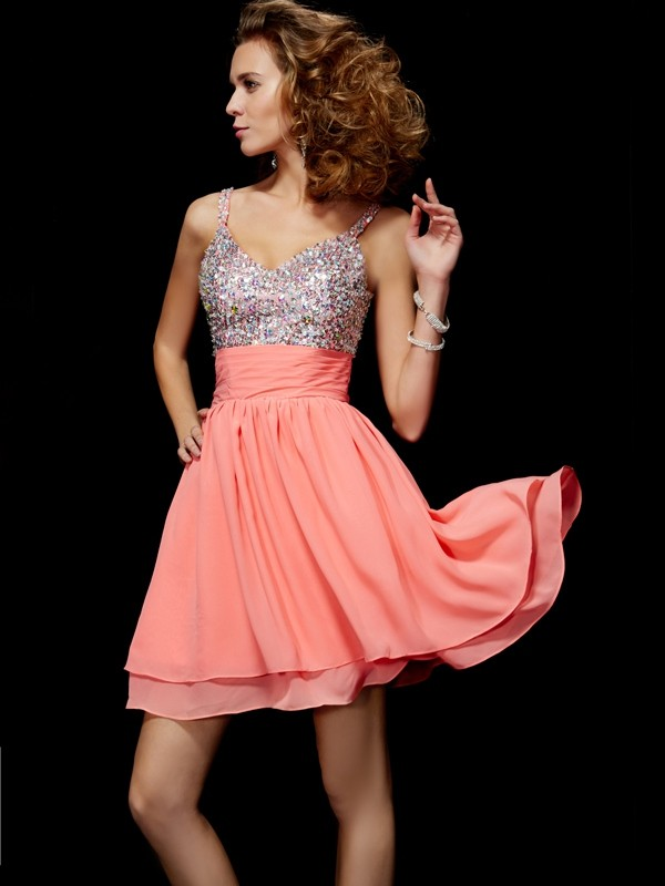 Short/Mini A-Line/Princess V-neck Sleeveless Beading Chiffon Dresses