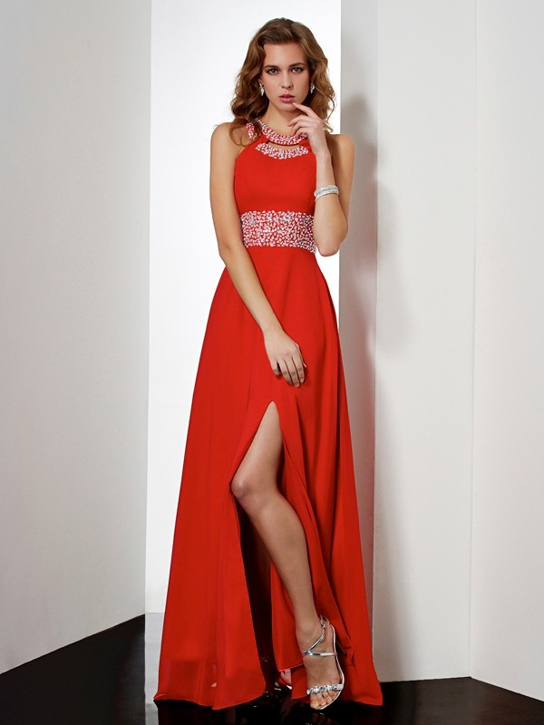 Floor-Length Empire Jewel Sleeveless Acrylic Jewels Chiffon Dresses