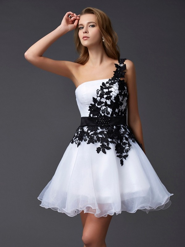 Short/Mini A-Line/Princess One-Shoulder Sleeveless Lace Organza Dresses