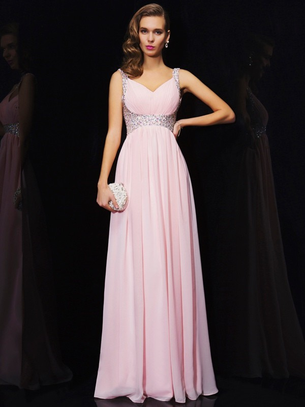 Floor-Length A-Line/Princess V-neck Sleeveless Beading Chiffon Dresses