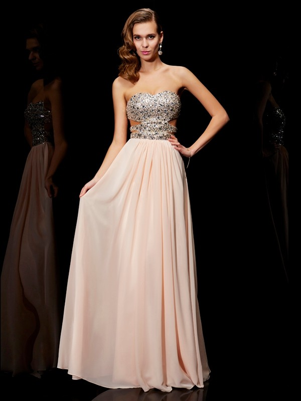 Floor-Length A-Line/Princess Sweetheart Sleeveless Rhinestone Chiffon Dresses
