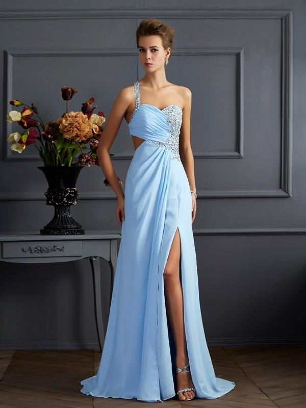 Sweep/Brush Train Sheath/Column One-Shoulder Sleeveless Beading Chiffon Dresses