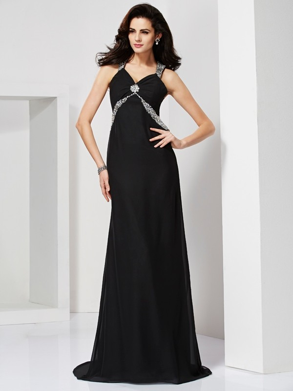 Sweep/Brush Train Sheath/Column Straps Sleeveless Beading Chiffon Dresses