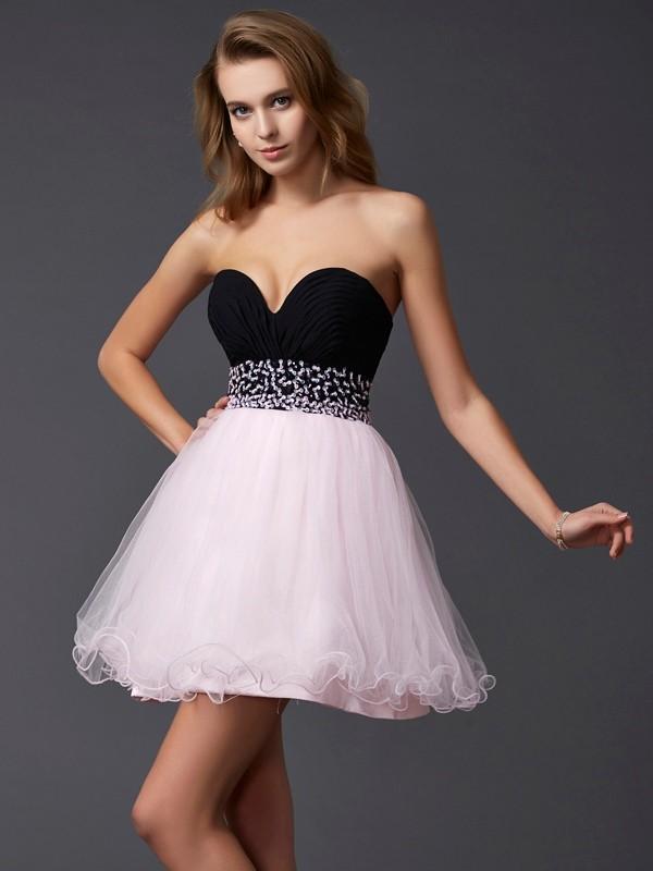 Short/Mini A-Line/Princess Sweetheart Sleeveless Beading Elastic Woven Satin Dresses