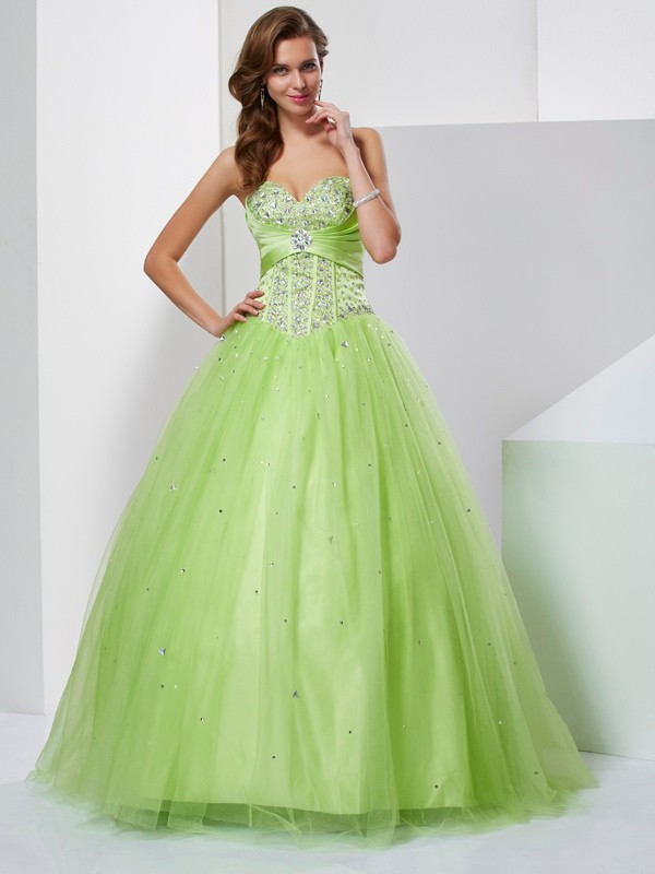 575de3a234 Floor-Length Ball Gown Sweetheart Sleeveless Beading Tulle Dresses